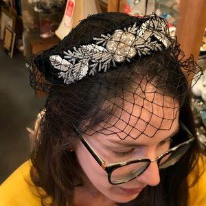 Vintage Beaded Velvet Netting Hat